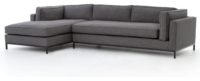 120 Maria Pia Piece Chaise Sectional Sofa Metal Fabric Matte Black