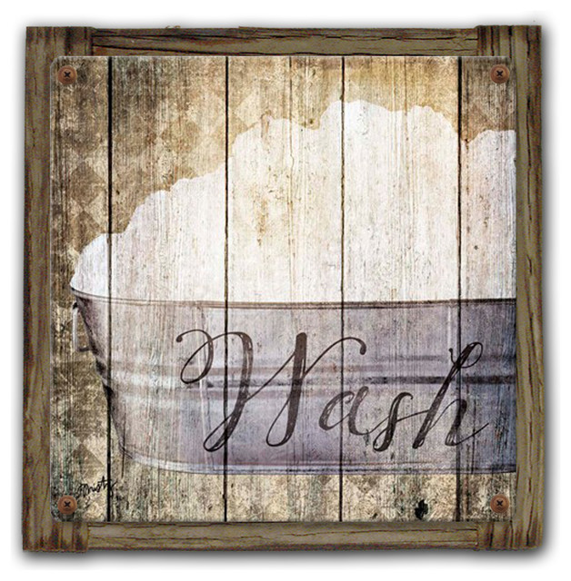 Wash Rustic Bathroom Sign 14x14 Metal Print On Reclaimed Wood
