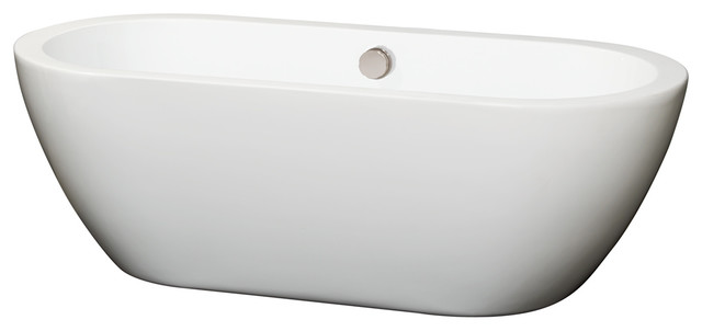 "Soho 68"" Freestanding White Bathtub, Brushed Nickel Drain And Overflow Trim."