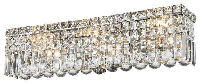 Bathroom Vanity Lighting Crystal 6-light vanity clear crystal wall sconce chandelier light, 24
