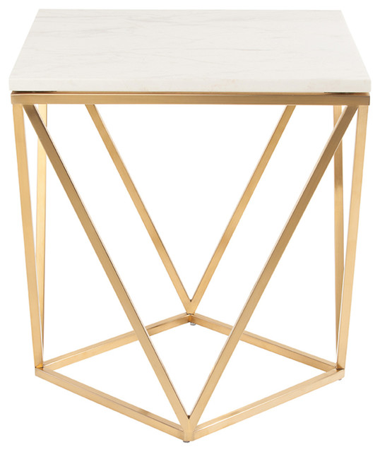 Jasmine Side Table Top White Marble Base Gold Stainless Steel
