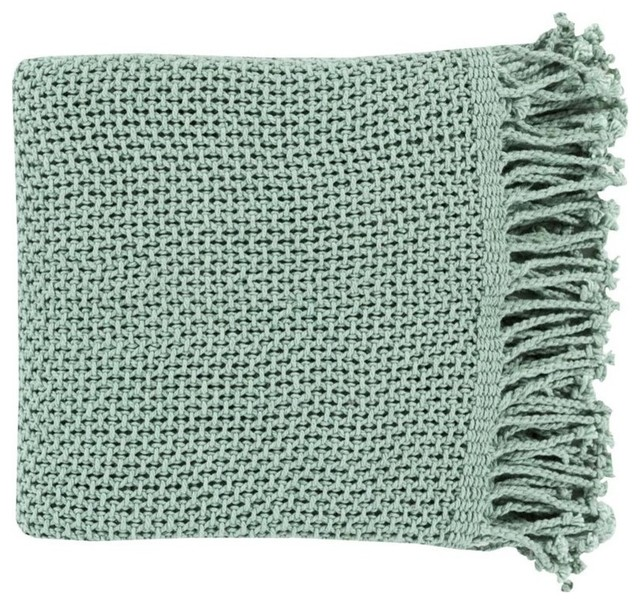 "Surya Tibey 4'2""x5'10"" Cotton Throw Blanket, Teal"