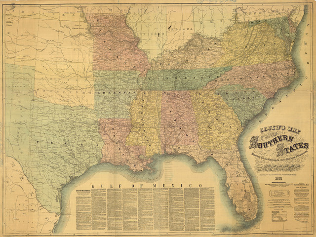 1861 Civil War Southern States Map, Showing the railroads and the  distances., 36