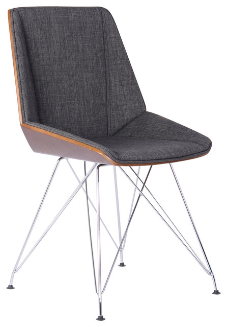 Tremendous Pandora Fabric Upholstery Chair Walnut Back And Chrome Legs Charcoal Home Interior And Landscaping Ologienasavecom