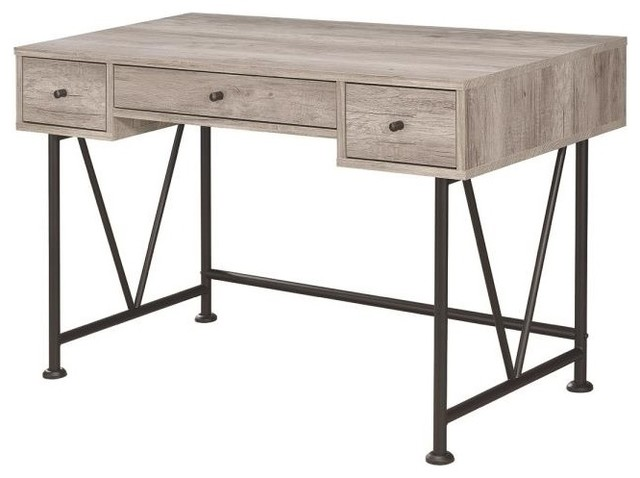 Iese Style Writing Desk With 3 Drawers Gray Driftwood