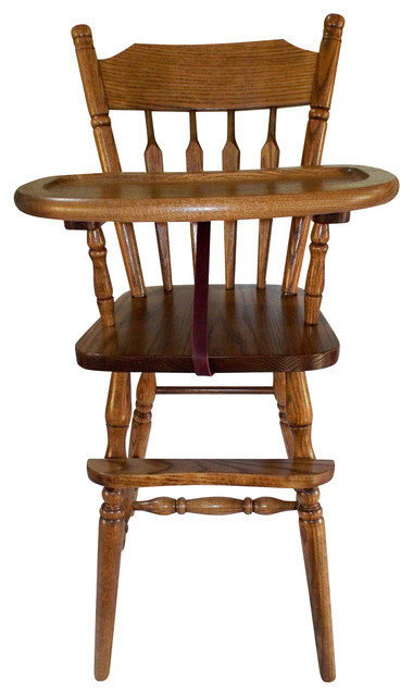 Amish Slide Tray Child Arrow Back High Chair Oak Solid