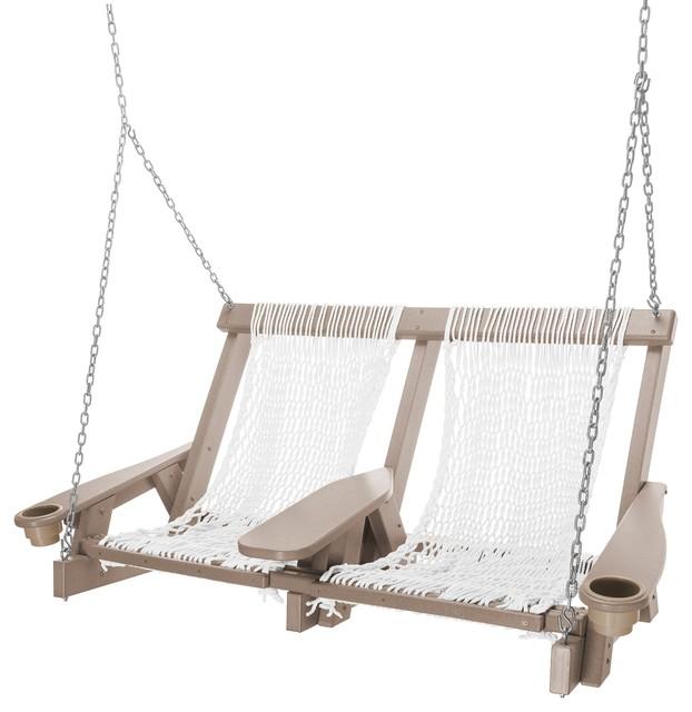 Pawleys Island Durawood Coastal Weatherwood Double White Polyester Rope Swing
