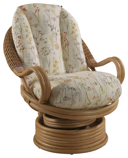 Oslo Light Oak Rattan Swivel Rocking Chair With Mulberry Floral Cushion