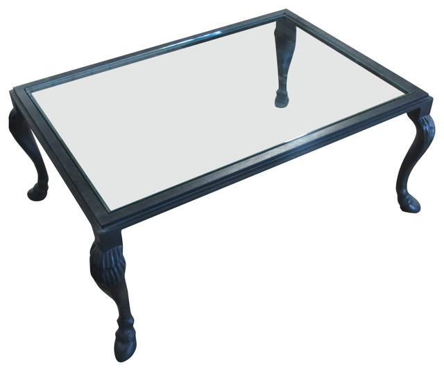 Awesome Equestrian Coffee Table With Glass Top Aged Black Pabps2019 Chair Design Images Pabps2019Com