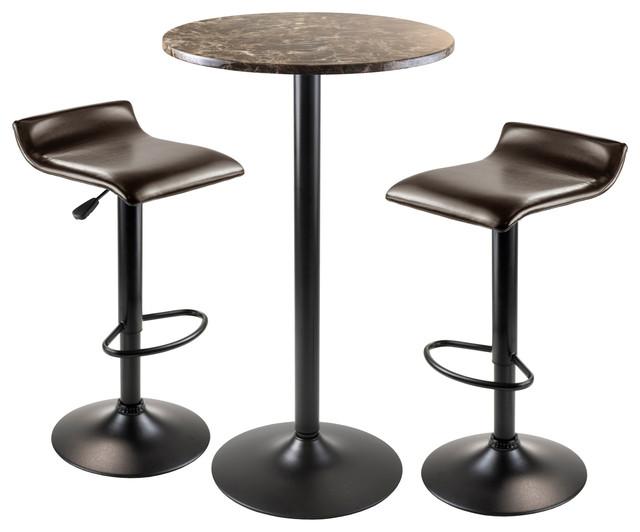 3 pc metal pub set transitional indoor pub and bistro sets by winsome. Black Bedroom Furniture Sets. Home Design Ideas