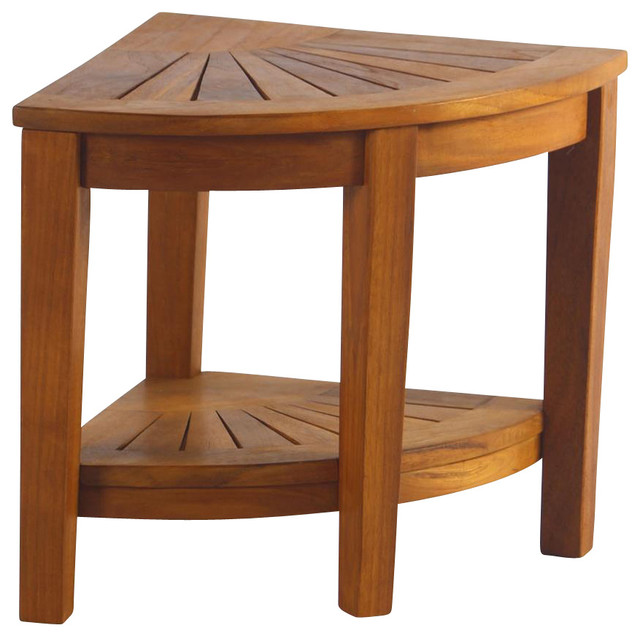 Teak Corner Stool With Shelf Traditional Shower Benches And Seats