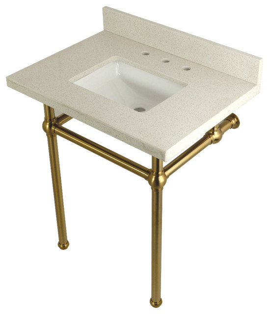 30x22 White Quartz Vanity With Sink and Brass Legs by Kingston Brass
