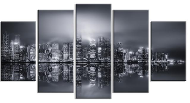 """Industrial Metal Wall Art hong kong black and white panorama"""" metal wall art - industrial"""