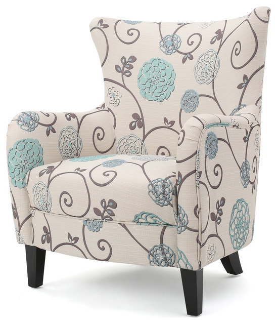 Surprising Gdf Studio Venette Fabric Club Arm Chair Ivory Blue Floral Gmtry Best Dining Table And Chair Ideas Images Gmtryco