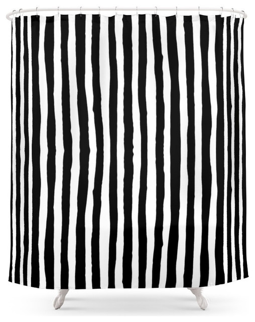 Society6 Black And White Vertical Stripes Shower Curtain Contemporary Sho
