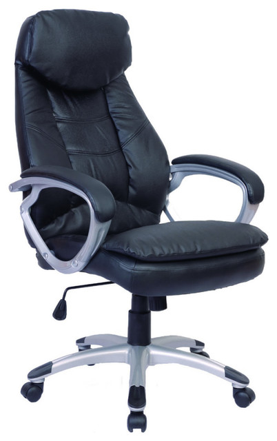 Black Office Chair Real Leather.