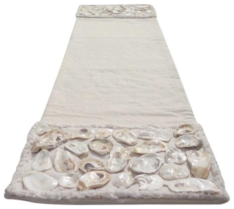 Genial All Natural Coastal Canvas Table Runner With Real Oyster Shells