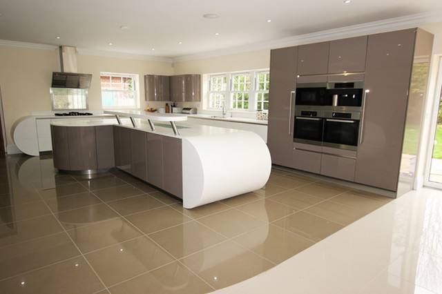 Curved Kitchen Island Design Contemporary Kitchen London By Lwk Kitchens London