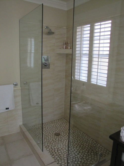 large walk in showers without doors.  in the shower area The glass wall you see at right side of photo is angles to left with 2 opening between Need Advice Walk Shower No Door