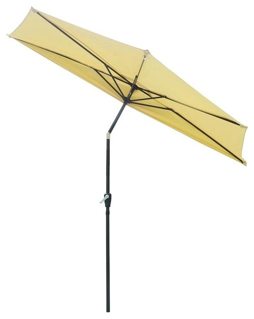 10u0027 Aluminum Half Patio Umbrella, Beige
