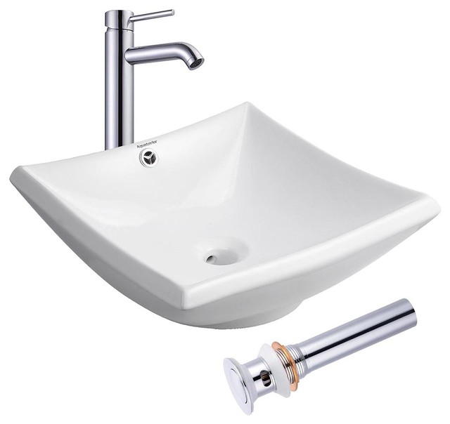 20 Square Porcelain Ceramic Vessel Sink With Overflow, Drain, And Faucet.