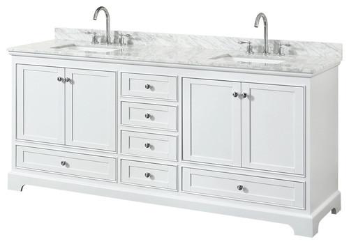 """Deborah 80"""" Double Vanity, White, White Carrera Marble, Undermount"""