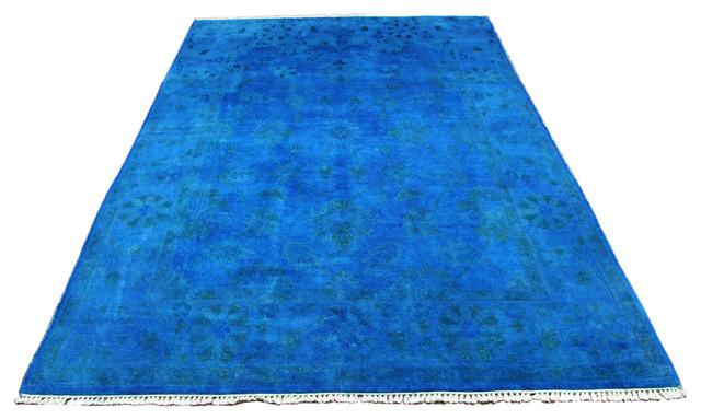 Cobalt Blue Overdyed Wool Pile Rug, 6u0027x9u0027 Traditional Area Rugs