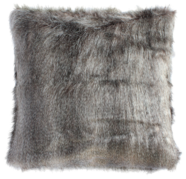 Navajo Faux Fur Pillow With Down Feather Insert Gray
