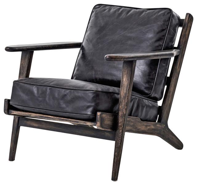 Wondrous Rider Mid Century Modern Oak Black Leather Armchair Inzonedesignstudio Interior Chair Design Inzonedesignstudiocom