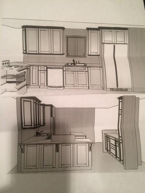 Asymmetrical Kitchen Cabinets