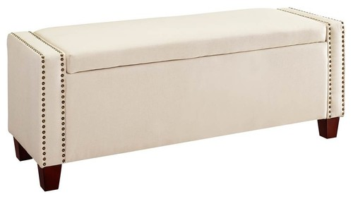 Upholstered Storage Bench, Linen Beige