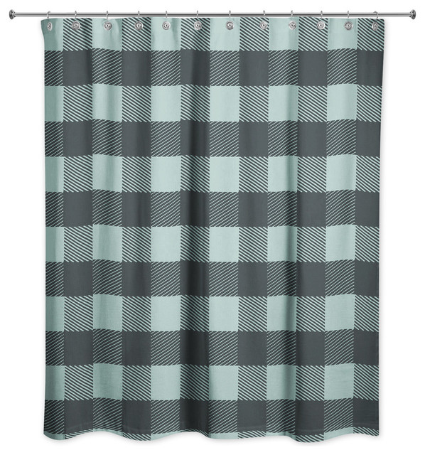 teal buffalo check plaid shower curtain