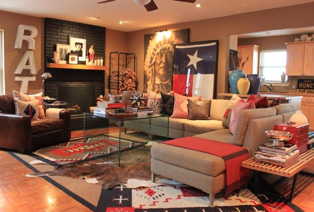 Den Southwestern Living Room Dallas By The