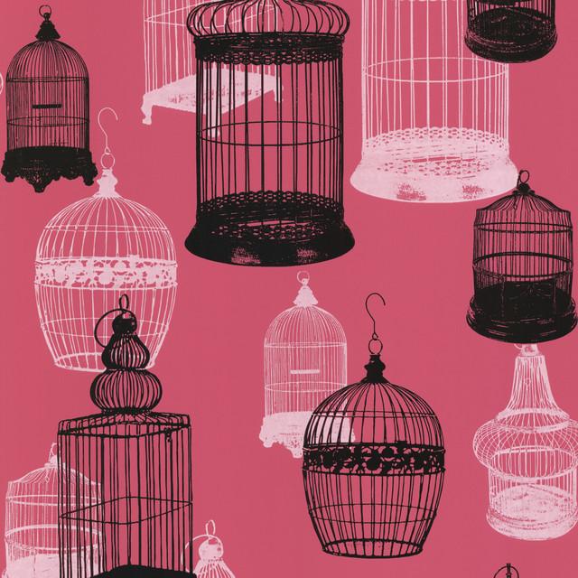 Avian Pink Bird Cages Wallpaper