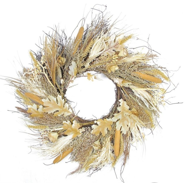 "24"" Autumn Harvest Cattail And Wheat Artificial Thanksgiving Wreath, Unlit."