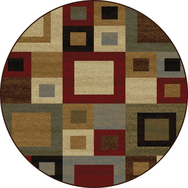 Jamie Contemporary Abstract Multi-Color Round Area Rug, 5&x27; Round.