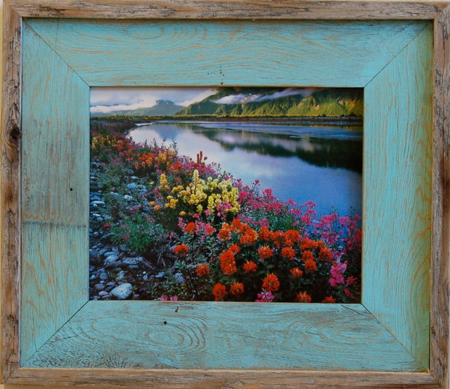 Barn Wood Picture Frame Lighthouse Robin Egg Blue Rustic Wood Frame ...