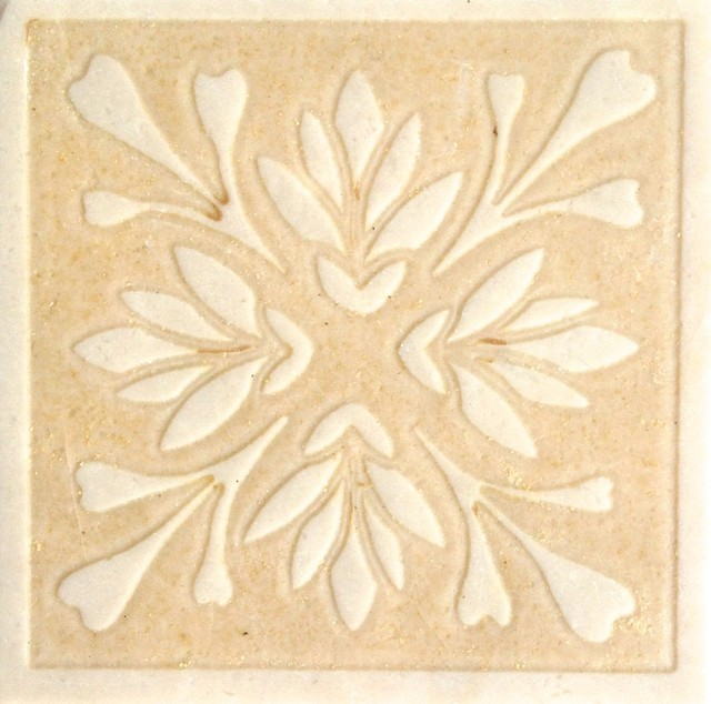 Decorative Etched Stone Dot Insert, Light Brown Wall And Floor Tile
