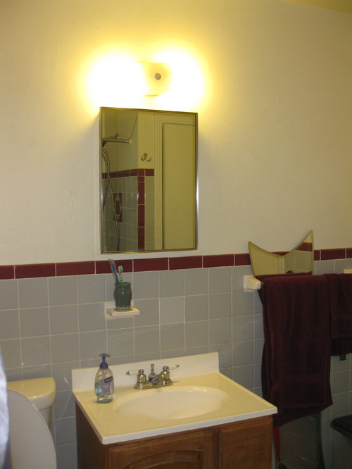 Vintage Maroon Gray Tile Bathroom Decisions