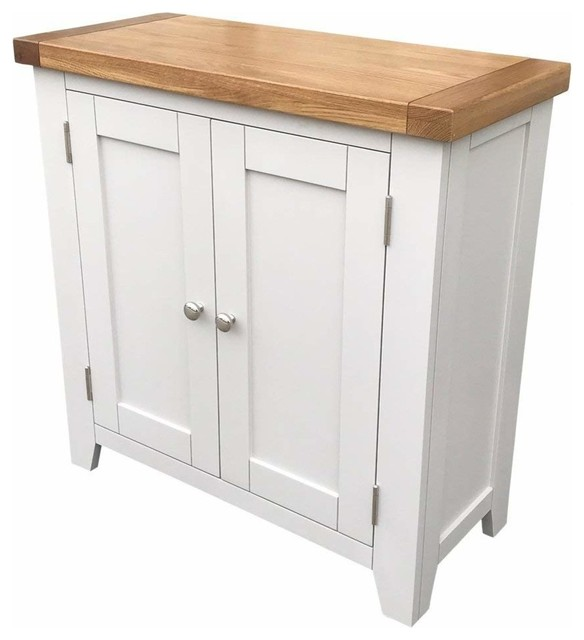 Contemporary Storage Cabinet Grey Painted Mdf With Oak Top And Inner Shelves