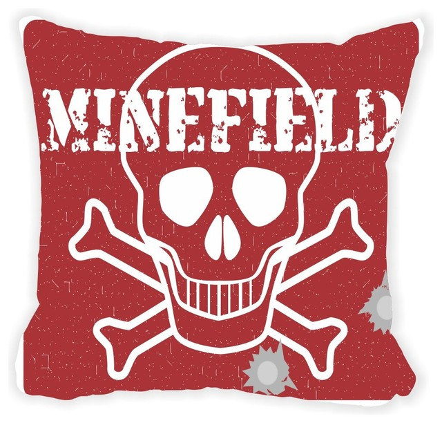 Red Minefield Skull Danger Sign Microfiber Throw Pillow No Fill