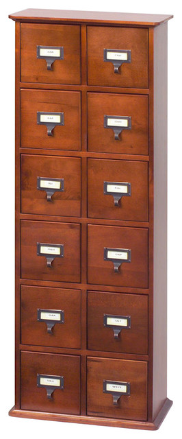 Library Card Catalog Cd Dvd Storage Cabinet 12 Drawer S 228 Discs Walnut