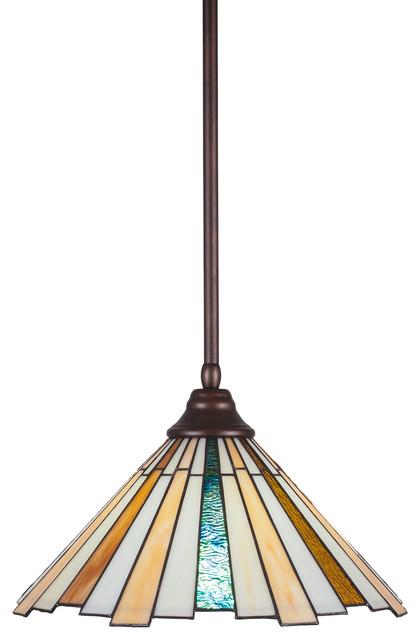 Any 1-Light Stem Hung Pendant Bronze Sequoia Tiffany Glass.