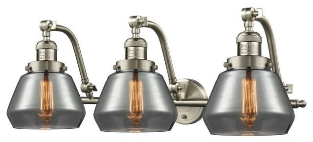 """Satin Nickel Ceiling Lights Bathroom Vanity Chandelier: Brushed Satin Nickel 3-Light 28"""" Bath, Vintage Bulbs"""