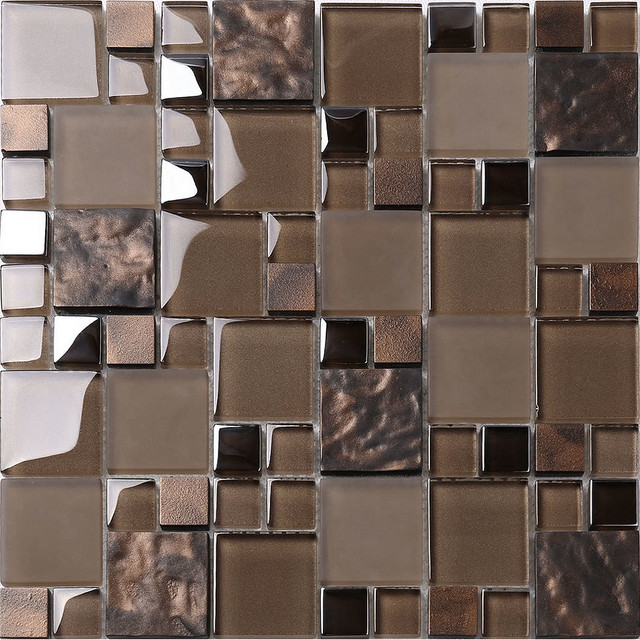 Brown Glass Mosaic Kitchen Backsplash Tile - Contemporary - Mosaic
