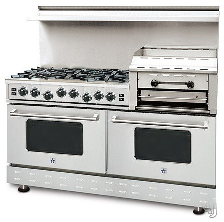 "contemporary gas ranges and electric ranges Blue Star 60"" Pro-Style Gas Range with 6 Open Burners"
