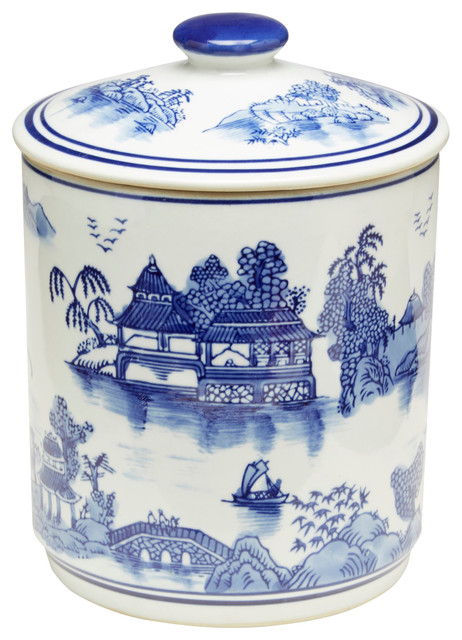 White Kitchen Jars blue and white oriental jar with lid - asian - kitchen canisters