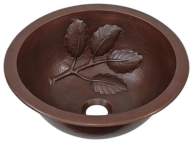"""Newton 14"""" Dual Mount Copper Bathroom Sink With Leaf Design"""