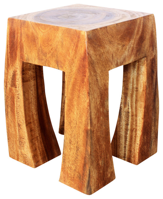 Blocky Sustainable Wood Stool, Livos Walnut Oil Rustic Accent And Garden