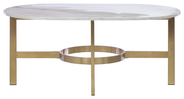 Versailles Marbled Coffee Table Antique Brass Contemporary